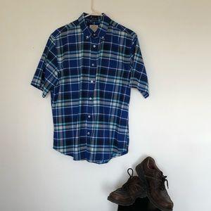 St Johns Bay Casual short sleeved plaid shirt sz M